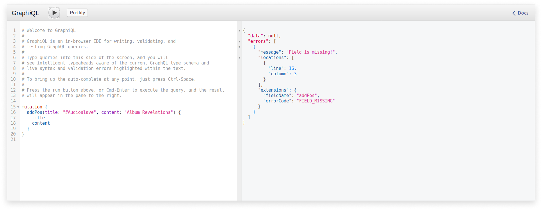 The error Field Missing in a GraphQL query implemented with Sangria