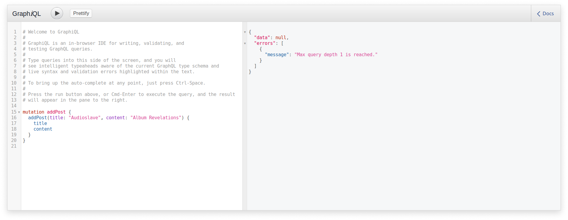 Query depth error with GraphQL and Sangria in a Scala application